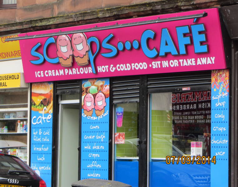 Scoops Cafe fascia sign