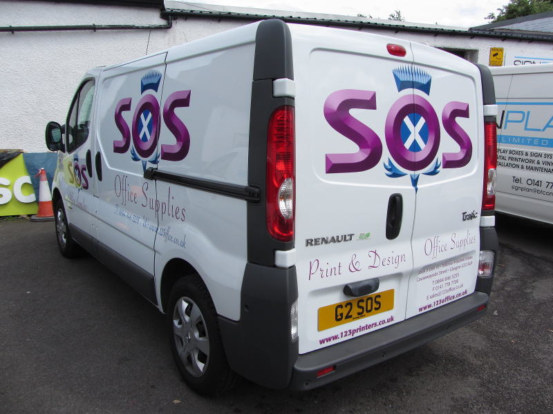 Strachan office supplies logo and van lettering