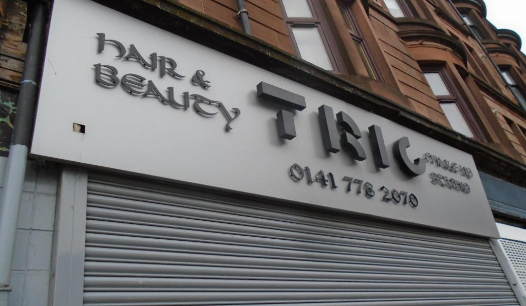 Tric Hair and Beauty Glasgow fascia sign